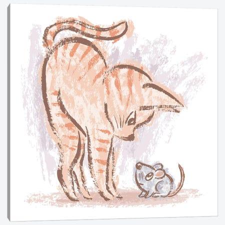 Cat Vs Mouse Canvas Print #TSG27} by Toru Sanogawa Canvas Art