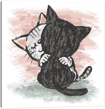 Cats Hug Canvas Art Print
