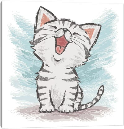 American Shorthair Happy Canvas Art Print
