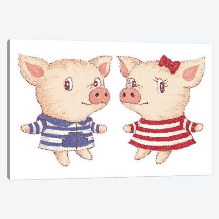 Cute Pig Couple Canvas Print #TSG35} by Toru Sanogawa Art Print