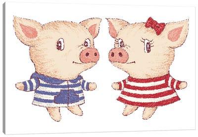 Cute Pig Couple Canvas Art Print