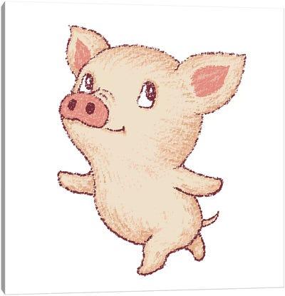 Cute Pig Dancing Canvas Art Print