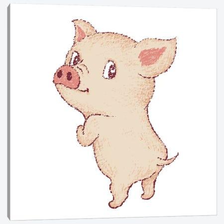Cute Pig Looks Back Canvas Print #TSG38} by Toru Sanogawa Canvas Artwork