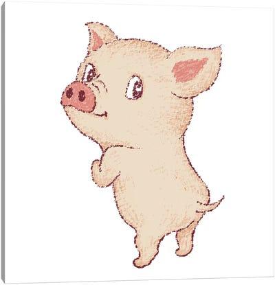 Cute Pig Looks Back Canvas Art Print