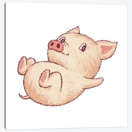 Cute Pig Relax Canvas Print #TSG39} by Toru Sanogawa Canvas Artwork
