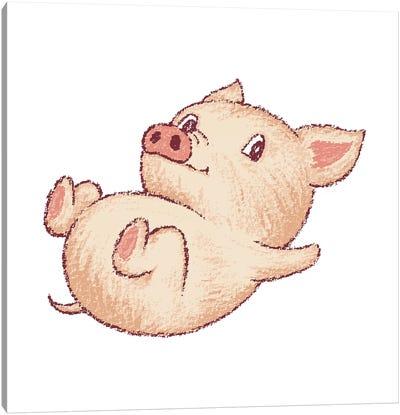 Cute Pig Relax Canvas Art Print