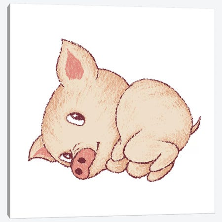 Cute Pig Resting Canvas Print #TSG40} by Toru Sanogawa Canvas Art Print