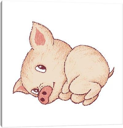 Cute Pig Resting Canvas Art Print