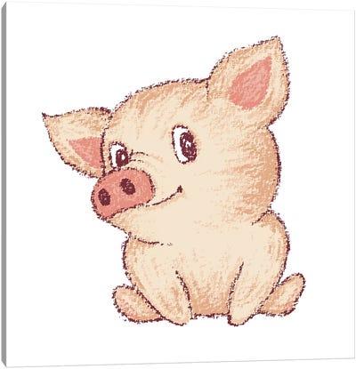 Cute Pig Sitting Canvas Art Print