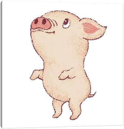 Cute Pig Stands Up Canvas Art Print