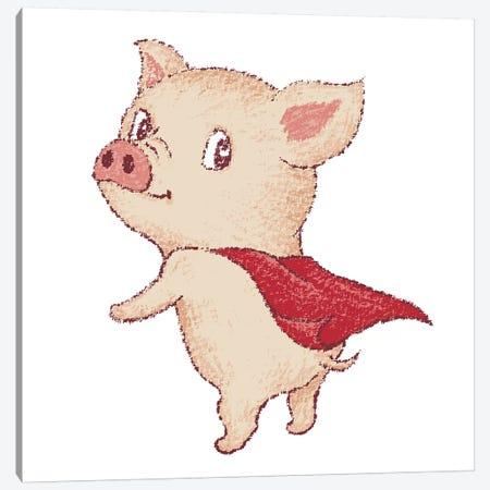 Cute Pig Super Hero Canvas Print #TSG43} by Toru Sanogawa Canvas Print