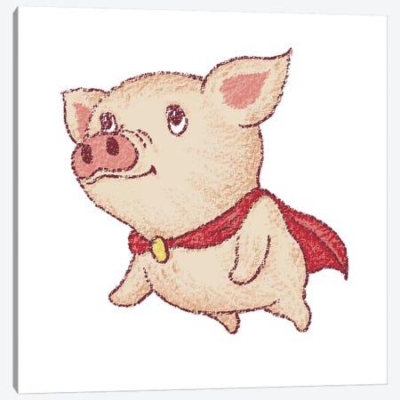 Cute Pig Superhero Flying Canvas Print #TSG44} by Toru Sanogawa Canvas Artwork
