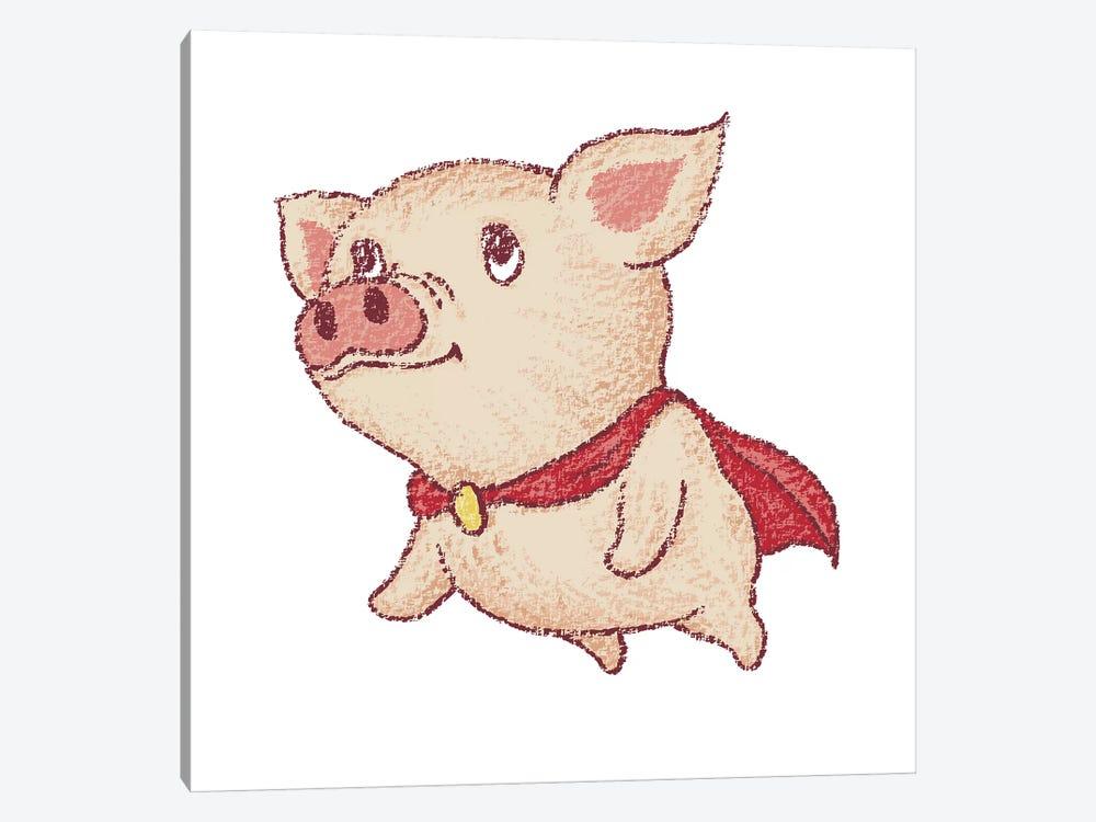 Cute Pig Superhero Flying by Toru Sanogawa 1-piece Canvas Print