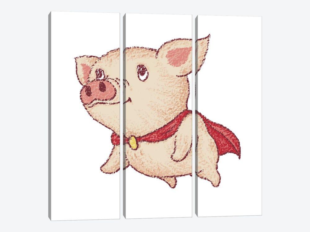 Cute Pig Superhero Flying by Toru Sanogawa 3-piece Canvas Print