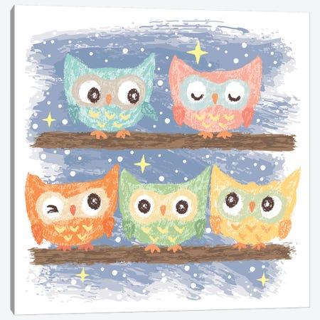 Five Birds Owl Canvas Print #TSG52} by Toru Sanogawa Canvas Artwork