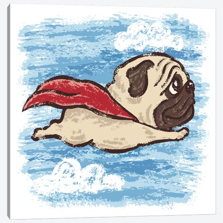 Flying Pug Canvas Print #TSG53} by Toru Sanogawa Canvas Wall Art