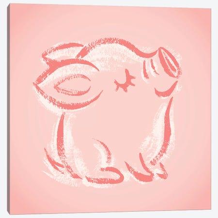 Happy Pig Sketch Canvas Print #TSG58} by Toru Sanogawa Canvas Artwork
