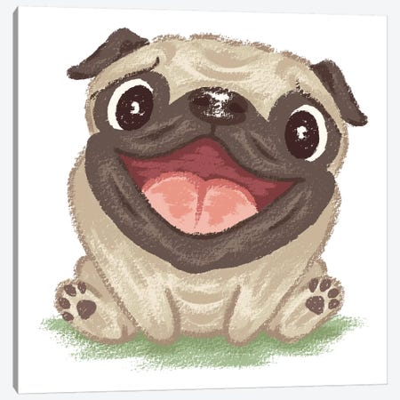 Happy Pug Canvas Print #TSG59} by Toru Sanogawa Canvas Art