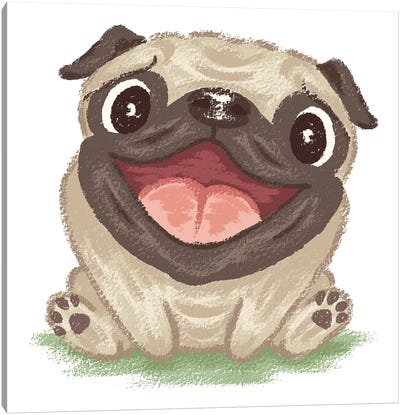 Happy Pug Canvas Art Print