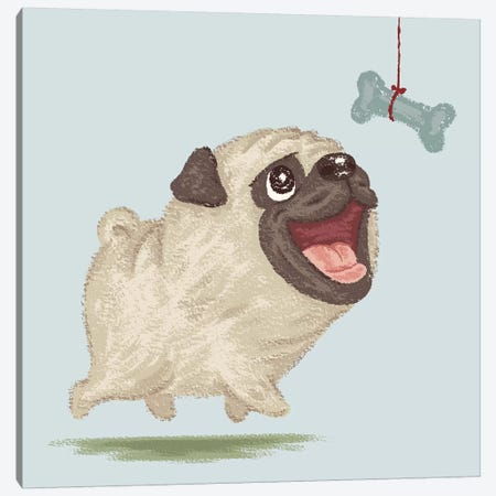 Happy Pug And Bone Canvas Print #TSG60} by Toru Sanogawa Art Print
