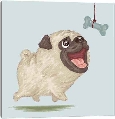 Happy Pug And Bone Canvas Art Print