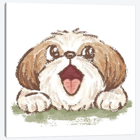Happy Shih Tzu Canvas Print #TSG61} by Toru Sanogawa Art Print