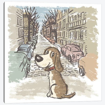 Hound On Street Canvas Print #TSG65} by Toru Sanogawa Canvas Art
