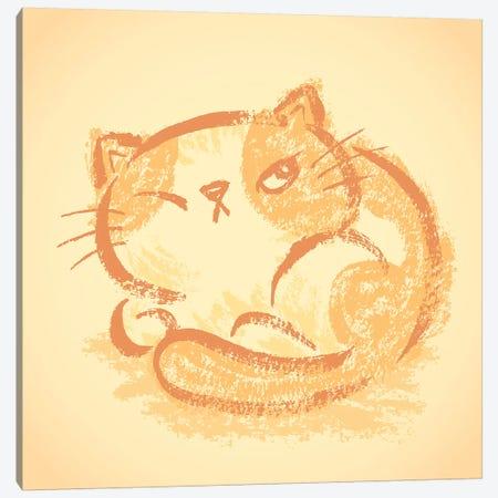 Impudent Cat Becomes Round Canvas Print #TSG68} by Toru Sanogawa Canvas Art Print