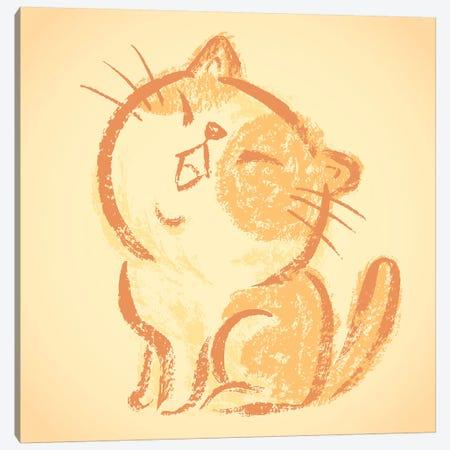 Impudent Cat Happy Canvas Print #TSG70} by Toru Sanogawa Canvas Wall Art