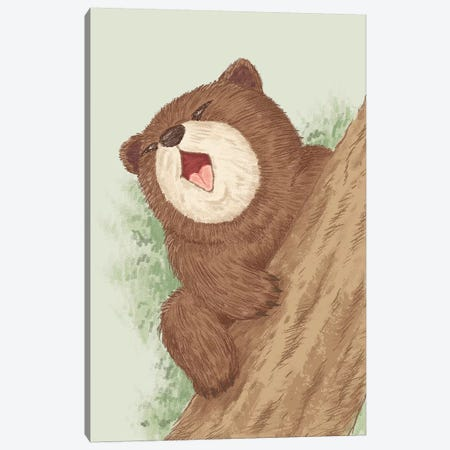 Bear On Tree Canvas Print #TSG7} by Toru Sanogawa Canvas Artwork
