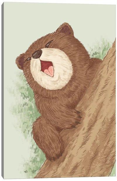 Bear On Tree Canvas Art Print