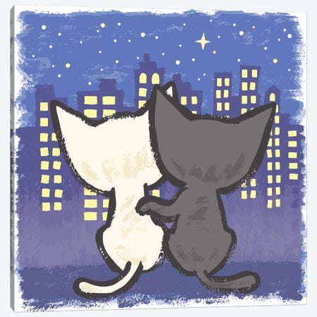 Night View And Cats Canvas Print #TSG81} by Toru Sanogawa Canvas Art Print