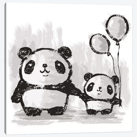 Pandas And Balloons Canvas Print #TSG85} by Toru Sanogawa Canvas Art