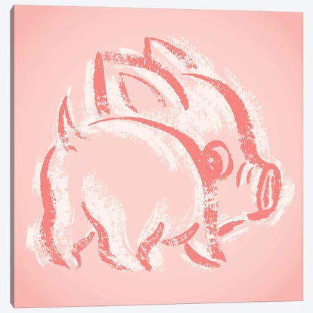 Pig Look Back Canvas Print #TSG87} by Toru Sanogawa Canvas Artwork