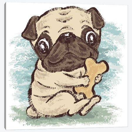 Pug And Bone Canvas Print #TSG89} by Toru Sanogawa Canvas Print