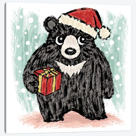 Black Bear At Christmas Canvas Print #TSG8} by Toru Sanogawa Canvas Art Print