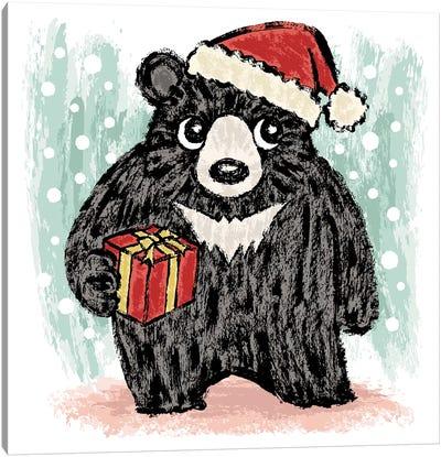 Black Bear At Christmas Canvas Art Print