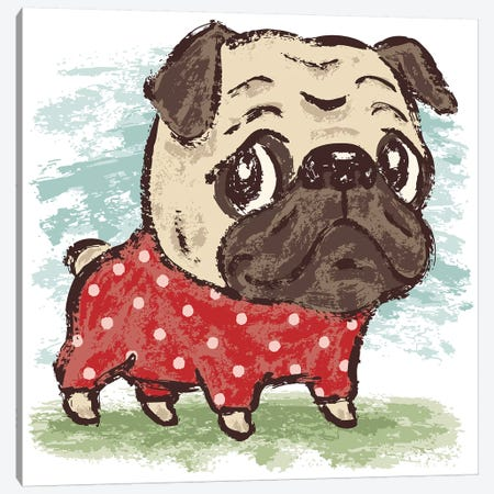 Pug And Clothes Canvas Print #TSG90} by Toru Sanogawa Canvas Art
