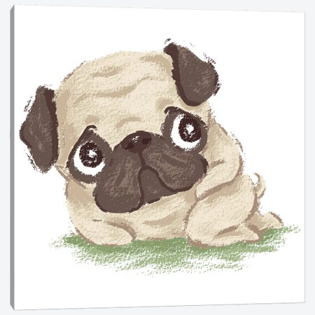 Pug Shy Canvas Print #TSG92} by Toru Sanogawa Canvas Art