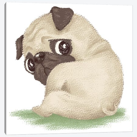 Pug Sitting Canvas Print #TSG93} by Toru Sanogawa Canvas Art