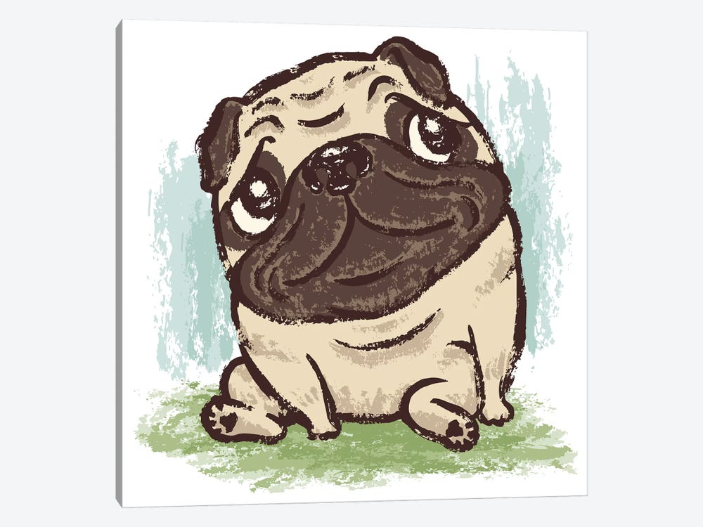 Pug That Relaxes by Toru Sanogawa 1-piece Canvas Art