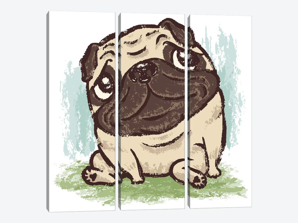 Pug That Relaxes by Toru Sanogawa 3-piece Canvas Wall Art
