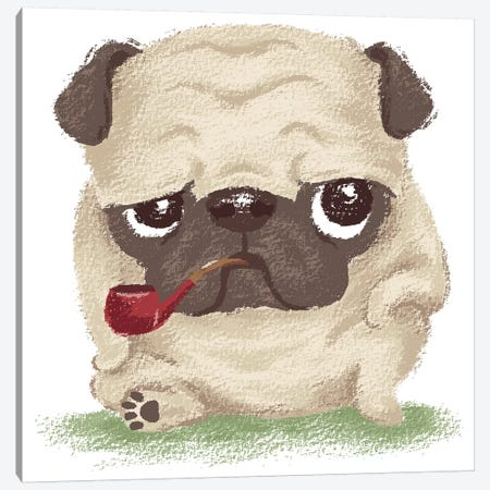 Pug Which Held The Pipe In Its Mouth Canvas Print #TSG95} by Toru Sanogawa Canvas Art Print