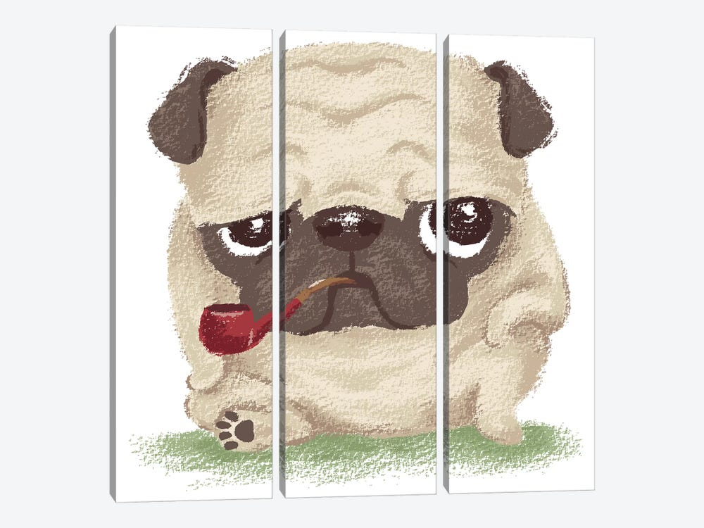 Pug Which Held The Pipe In Its Mouth by Toru Sanogawa 3-piece Canvas Print