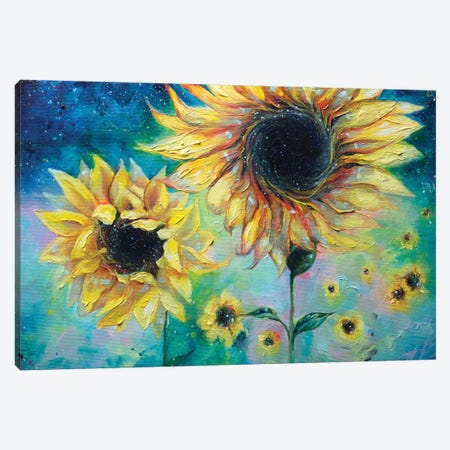 Supermassive Sunflowers Canvas Print #TSH16} by Tanya Shatseva Canvas Art