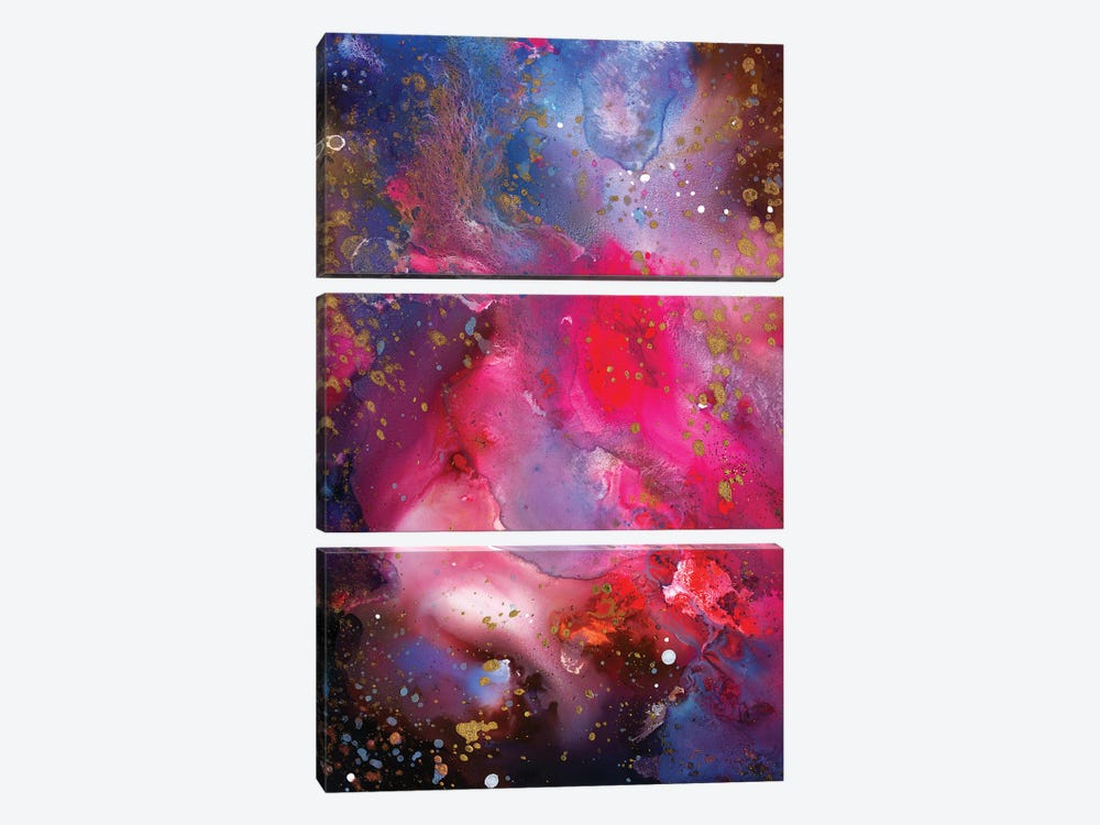 Rose Crystal Galaxy by Tanya Shatseva 3-piece Canvas Art Print