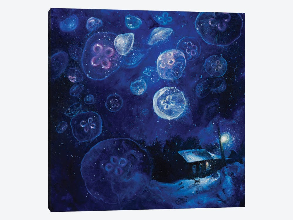 It's Jellyfishing Outside Tonight by Tanya Shatseva 1-piece Canvas Art Print