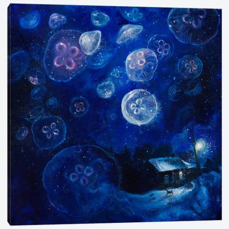 It's Jellyfishing Outside Tonight Canvas Print #TSH9} by Tanya Shatseva Canvas Art