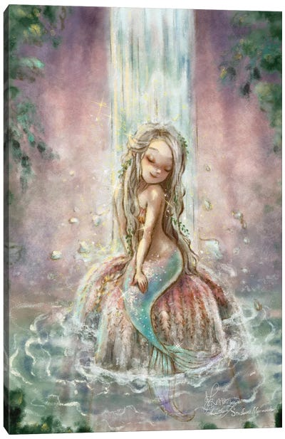 Ste-Anne Mermaid Waterfall In The Lagoon Canvas Art Print
