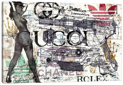 Bettie Page Disaster With Gun Canvas Art Print